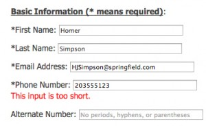The form won't send because there are less than 10 digits in the field.